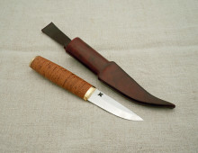 Everyday puukko with birch bark handle