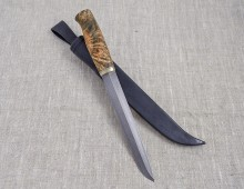 Wootz knife 225 mm blade, stabilized x-cut curly birch handle